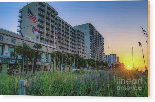 Ocean Drive Sunrise North Myrtle Beach Wood Print