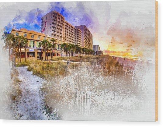 Ocean Drive Sunrise Watercolor Wood Print