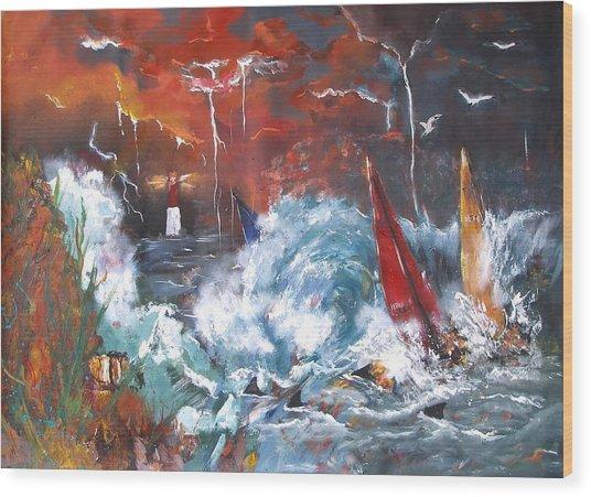Ocean Fury Wood Print