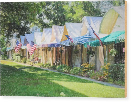 Ocean Grove Tents Sketch Wood Print
