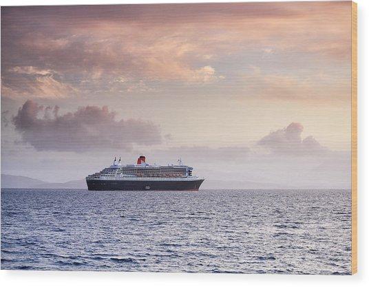 Ocean Liner Sunset Wood Print by Grant Glendinning