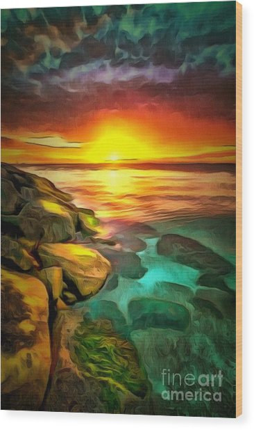 Ocean Lit In Ambiance Wood Print