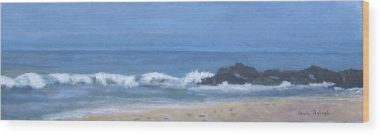 Ocean Meets Jetty Wood Print
