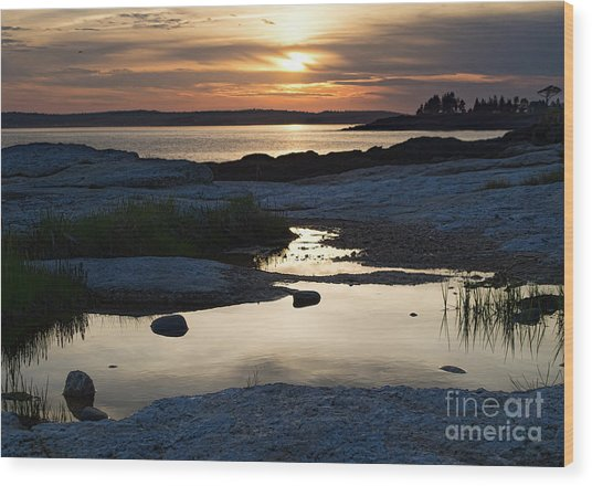 Ocean Point Sunset In East Boothbay Maine  -23091-23093 Wood Print