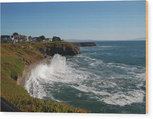 Ocean Spray In Santa Cruz Wood Print