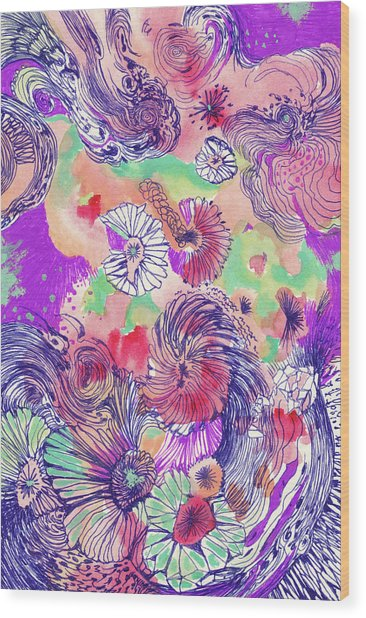 Ocean - #ss18dw010 Wood Print by Satomi Sugimoto