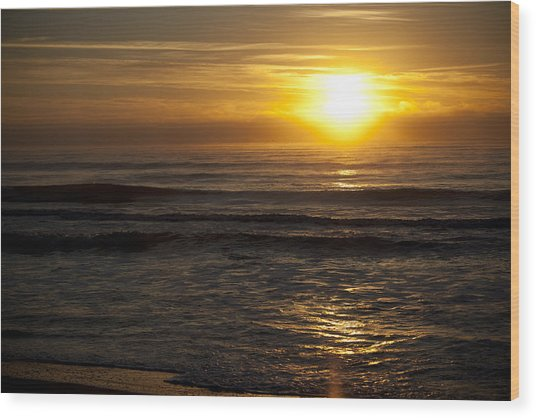 Ocean Sunrise Wood Print by Christina Durity