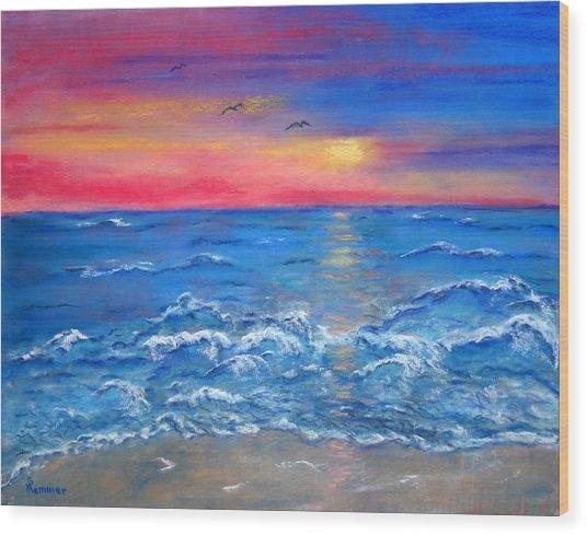 Ocean Sunrise Wood Print by Sandy Hemmer