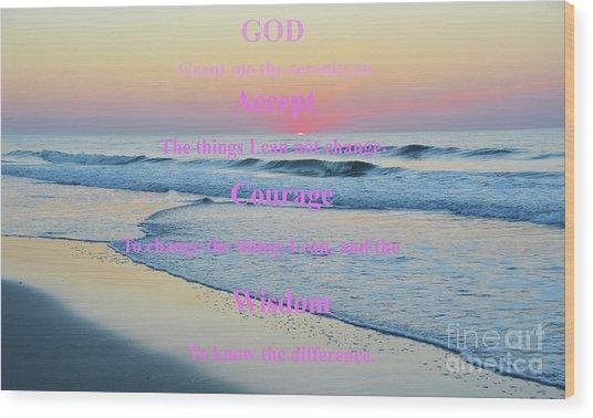 Ocean Sunrise Serenity Prayer Wood Print
