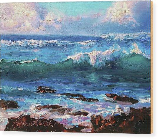 Coastal Ocean Sunset At Turtle Bay, Oahu Hawaii Beach Seascape Wood Print