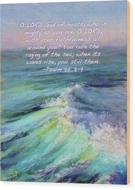 Ocean Symphony With Bible Verse Wood Print