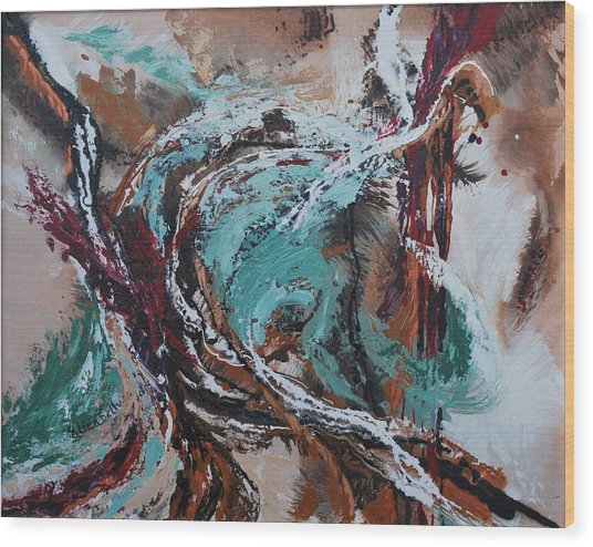 Ocean Wave Abstract Wood Print by Beth Maddox