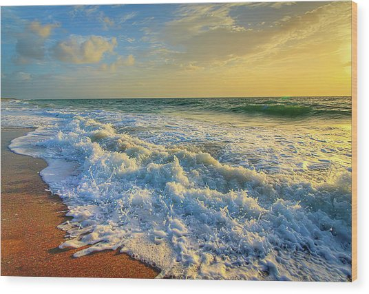 Ocean Waves Sunrise Wood Print