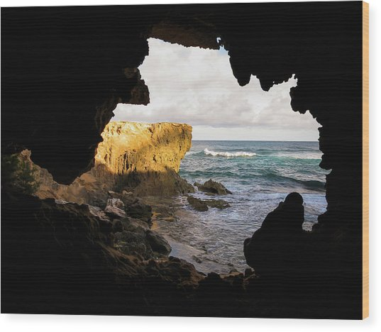 Oceanfront Cave Wood Print