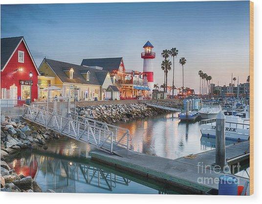 Oceanside Harbor Village At Dusk Wood Print