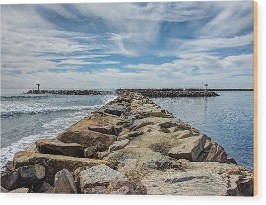Oceanside Jetty Wood Print