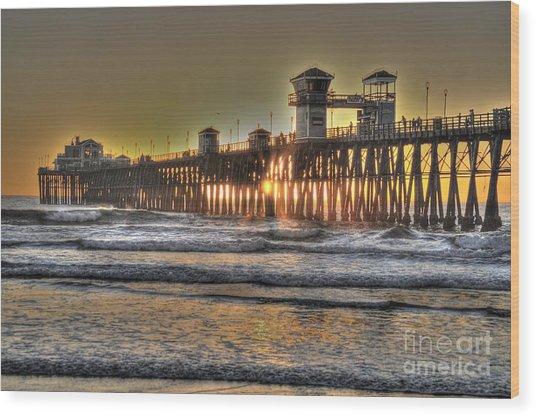 Oceanside Pier Hdr  Wood Print