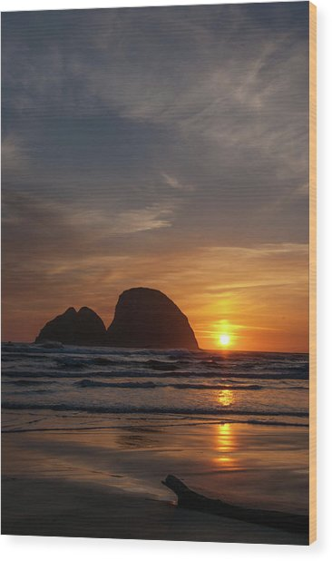 Oceanside Sunset 4 Wood Print