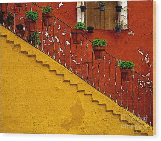 Ochre Staircase With Red Wall 2 Wood Print by Mexicolors Art Photography