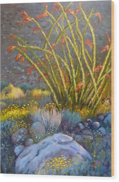 Ocotillo At Dusk Wood Print