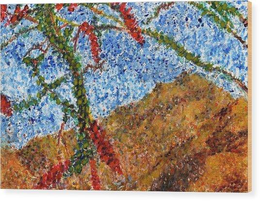 Ocotillo In Bloom Wood Print by Cynthia Ann Swan