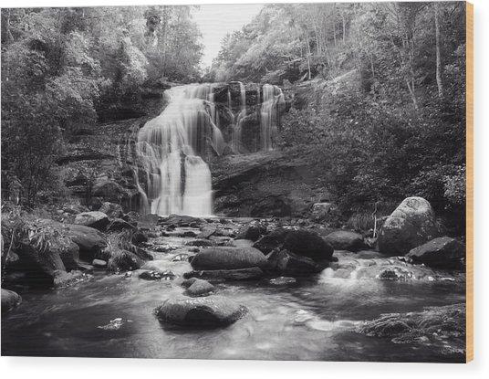 October At Bald River Falls Sepia Wood Print