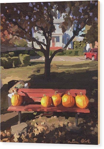 October Pumpkins Wood Print