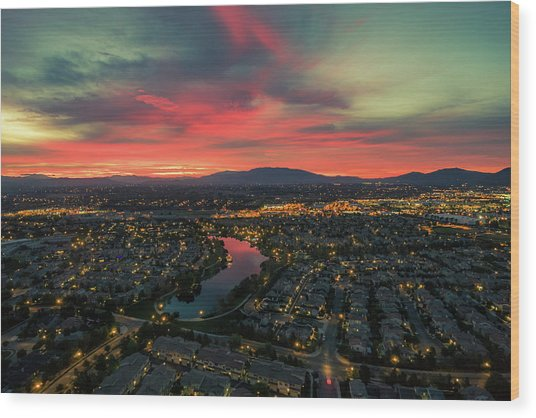 October Sunrise Harveston Lake Temecula Wood Print