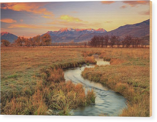 October Sunrise In Heber Valley. Wood Print