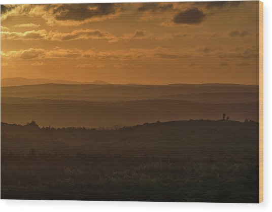 October Sunset In Acadia Wood Print