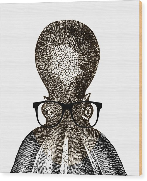 Octopus Head Wood Print by Frank Tschakert