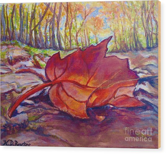 Ode To A Fallen Leaf Painting Wood Print