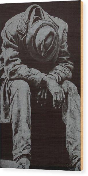 Odis Wood Print by Lamark Crosby