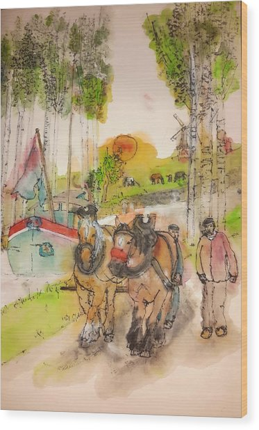 Of Clogs And Windmills Album  Wood Print by Debbi Saccomanno Chan