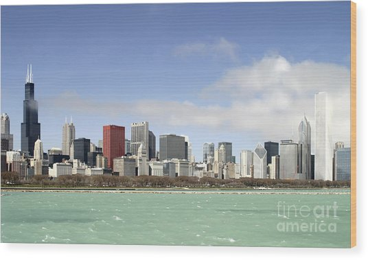 Off The Shore Of Chicago Wood Print