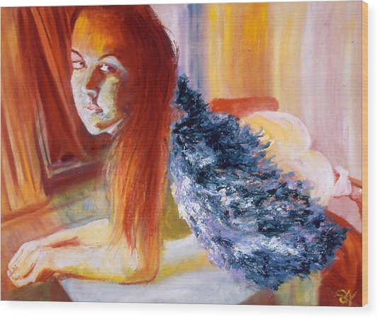 Office Angel II Wood Print by LB Zaftig