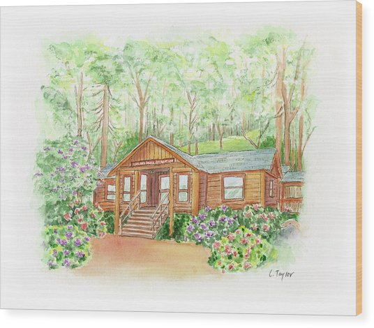 Office In The Park Wood Print