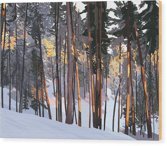 Office View Winter Alpenglow Wood Print