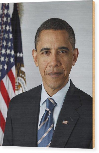 Official Portrait Of President Barack Wood Print