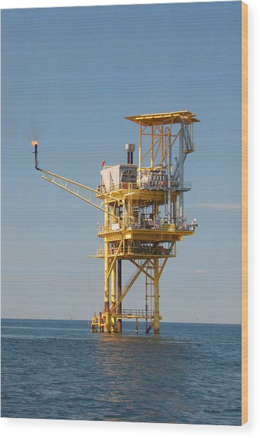 Offshore Gas Platform Wood Print by Bill Perry