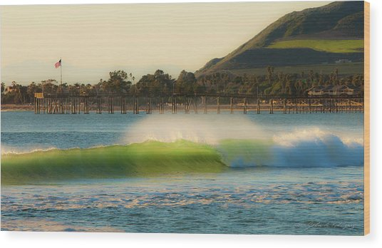 Offshore Wind Wave And Ventura, Ca Pier Wood Print