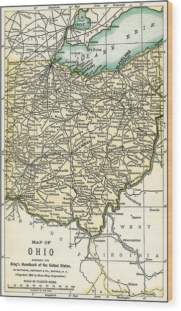 Ohio Antique Map 1891 Wood Print