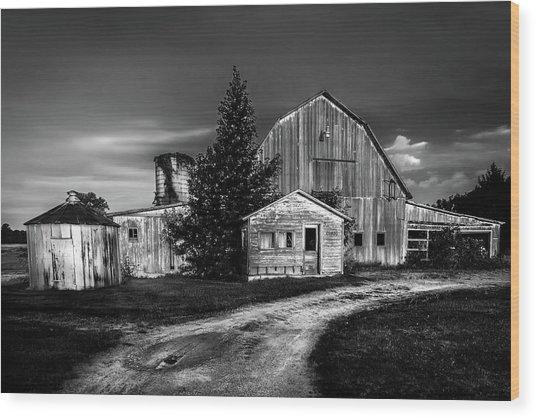 Ohio Barn At Sunrise Wood Print