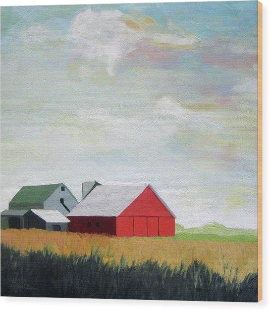 Ohio Farmland- Red Barn Wood Print