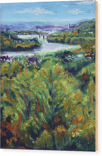 Ohio River From Ayers-limestone Road Wood Print by Robert Sako