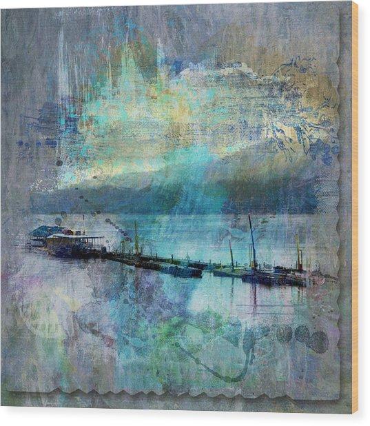 Ohio River Splatter Wood Print