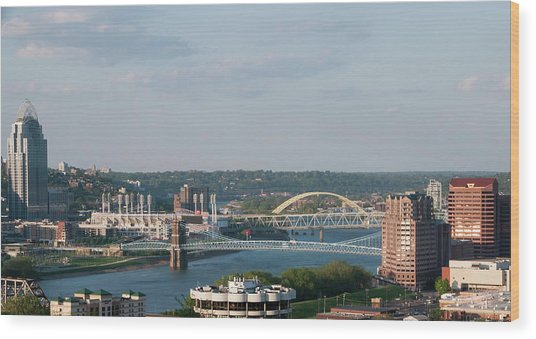 Ohio River's Suspension Bridge Wood Print
