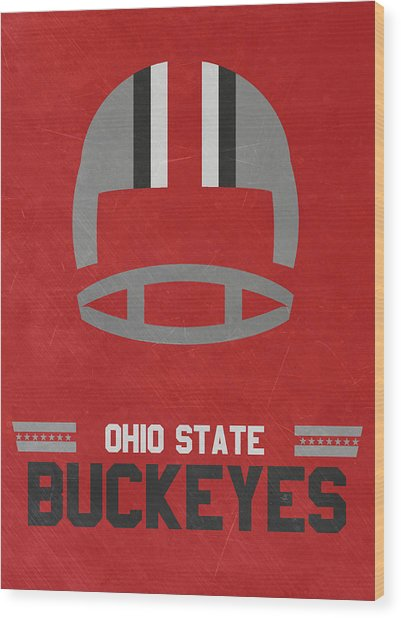 Ohio State Buckeyes Vintage Football Art Wood Print