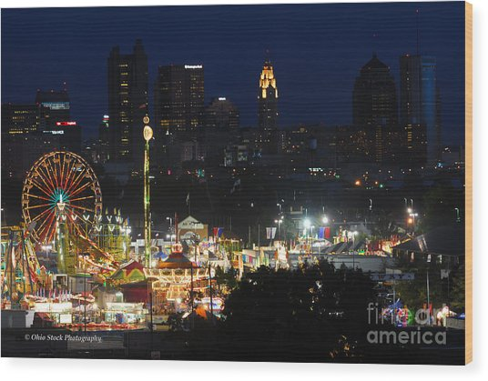 D3l-464 Ohio State Fair With Columbus Skyline Wood Print