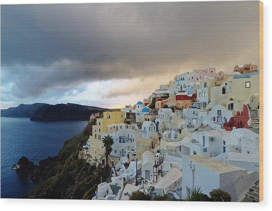 Oia Santorini Sunset Wood Print